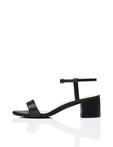 find. Block Heel Ankle Strap Peeptoe Sandalen, Schwarz Black), 41 EU