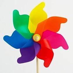 CIM Windspiel - Moulin 31 Rainbow - UV-beständig und wetterfest - Windrad: Ø31cm, Standhöhe: 75cm - fertig aufgebaut inkl. Standstab (Rainbow)