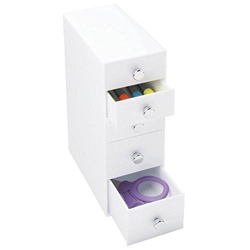 mDesign Bürobedarf-/Schreibtisch-Organizer für Schere, Stifte, Highlighter, Haftnotizen, Klebefilm - 5 Schubladen, Weiß