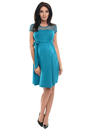 Purpless Maternity Short Sleeved A-Line Pregnancy Dress with Polka Dot Lace Panel D004 (18, Turquoise)