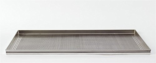 Pentole Agnelli Pâtisserie et Micro perforé à Pizza rectangulaire Plat de Cuisson, Trou de 2 mm en Alliage d'aluminium 3003, Aluminium, Aluminium, Blanc, 80x60x2 cm