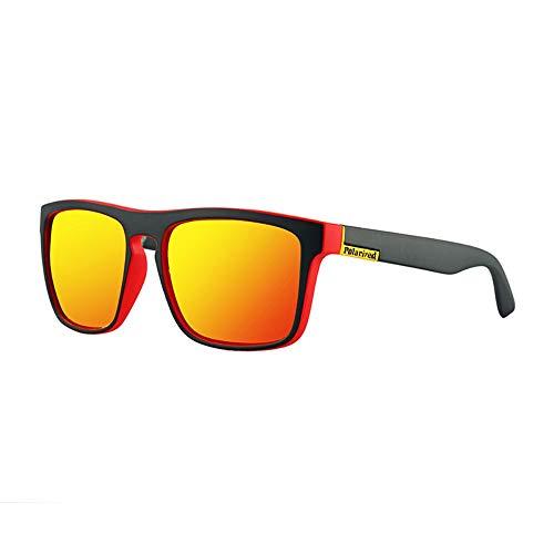 Easy Go Shopping Sonnenbrillen Radfahren für Herren Sonnencreme UV400 Acryl-Kunststoff Fullf Frame Leisure Polarized Sonnenbrillen und Flacher Spiegel (Color : Red Yellow Label)