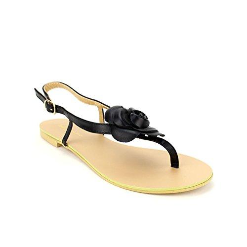 Cendriyon, Tong Fleur Black DIVINE Chaussures Femme Noir