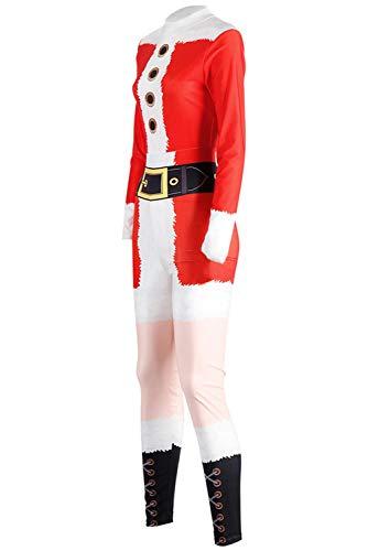 MingoTor Erwachsene Weihnachten Onesies Weihnachtsmann Sleepsuit Unisex Santa Claus Overall Halloween Kostüm Cosplay Jumpsuit Rot - Santa Overall Für Erwachsene Kostüm