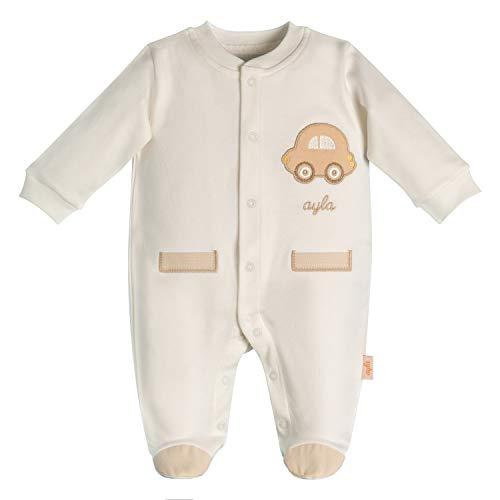 Ayla Baby Strampler für Jungen   Weiß in Größe 68 (6-9 Monate)   Modell der Babykleidung: Auto Langarm Öko-Tex
