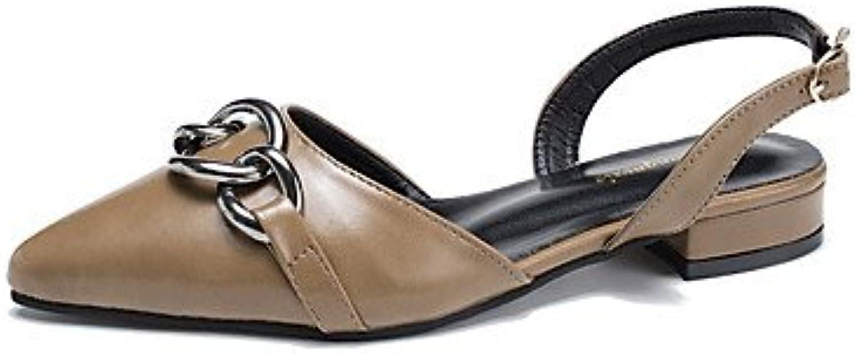 FSCHOOLY Womens Zapatos Pu Primavera Otoño Comfort Sandalias De Tacón Bajo For Casual Negro Marrón Caqui,Caqui... -