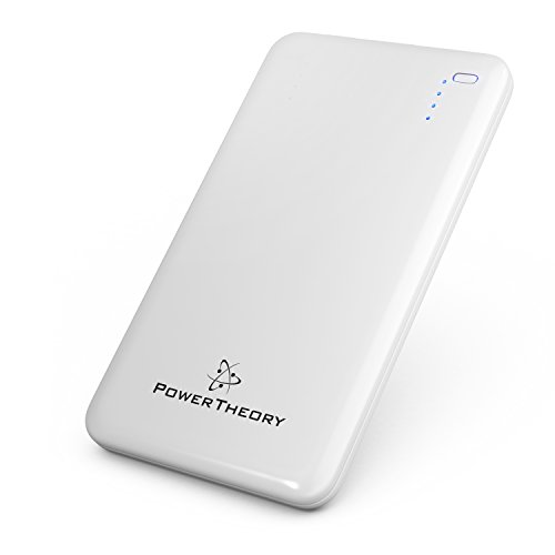 Power Theory Ultra Slim 10000mAh Portable Charger External Battery Power Bank Pack for iPhone 6S 6 Plus 5S 5C 5 4S, iPad Air 2 Mini 3, Samsung Galaxy S6 S5 S4 Note Tab, Nexus, HTC, Motorola, Nokia, GoPro, Smartphones and Tablets (White)