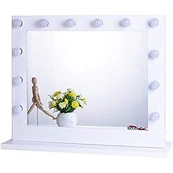 Espejo de Maquillaje con iluminación Ajustable para cosmético (80cm x 65cm, Blanco)