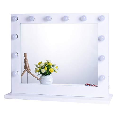 Chende Tabletop Weiß Hollywood Spiegel mit Beleuchtung, Bühne Schminkspiegel mit Licht, LED beleuchtet Theaterspiegel, Mauer Montiert Spiegel groß, Freie 14 Glühbirnen (8065, Weiß)