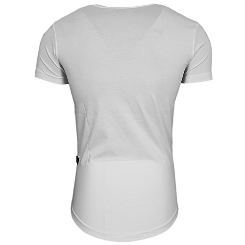 HERREN RN15087 T-Shirts Totenkopf Größe S M L M XL XXL kurzarm strasssteine Weiß