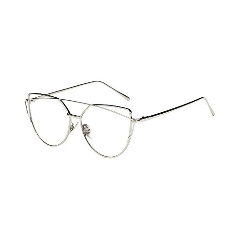 WooCo Pilotenbrille für Herren Damen Polarisiert, Heißer Verkauf Fashion Twin-Beams Classic Metallrahmen Cat Eye Brillen Sonnenbrillen Brillen(B-Silber,One size)