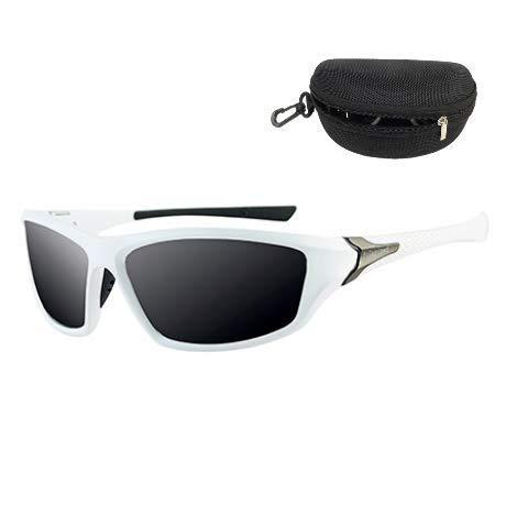Flybiz Gafas de sol Polarizadas Para Hombres y Mujeres UV400 Protection, Aptos para Conducir, Pescar e Ir en bicicleta, Montura Envolvente Cómoda, Deportivo Polarizados-Lente Negro Con Marco Blanco