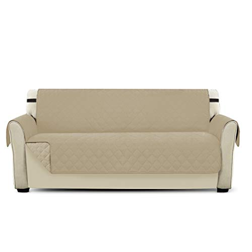 Petcute copripoltrona per divano trapuntato luxury protegge da animali extra morbido beige 3 plazas