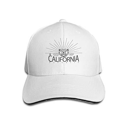 Xunulyn Baseball Cap Adjustable Athletic Custom Trendy Hat for Men and Women California Typography Print Grizzly Bear Republic Vintage Head White