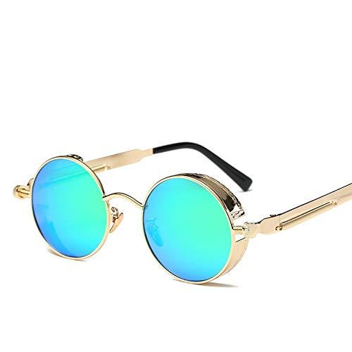 MOJINGYAN Sonnenbrillen,Gold Steampunk Goggles Sonnenbrillen Gotischen Beschichtung Gespiegelt Runder Kreis 2019 Mann Sonnenbrille Retro Uv400 Vintage Eyewear