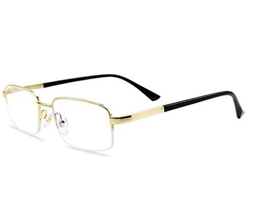 JSHFD Men Half Frame Anti-Blaue Lesebrille Computer Eyewear Anti-Glare-Schutz Anti-Fatigue Anti-UV-Brille for Smartphones oder Fernseher (Color : Gold-8102, Size : 3)