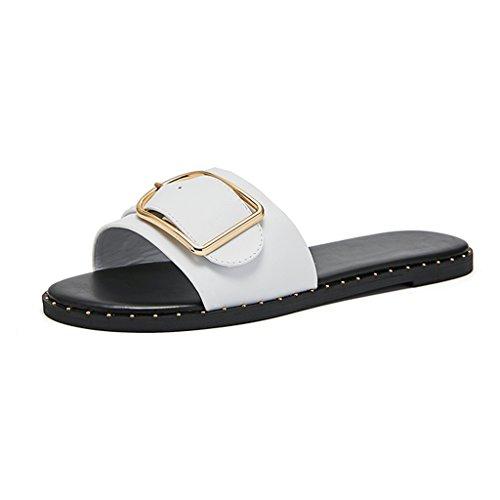 JIANXINliangxie Jianxin Femelle Chaussures Plates Sandales Rivet Boucle de  Ceinture en métal Casual Look été en d98d172bc25