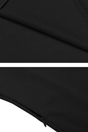 Teamyy Femme Col Roulé Filet Jupes En Manche 3/4 Longue Robes D'été Noir