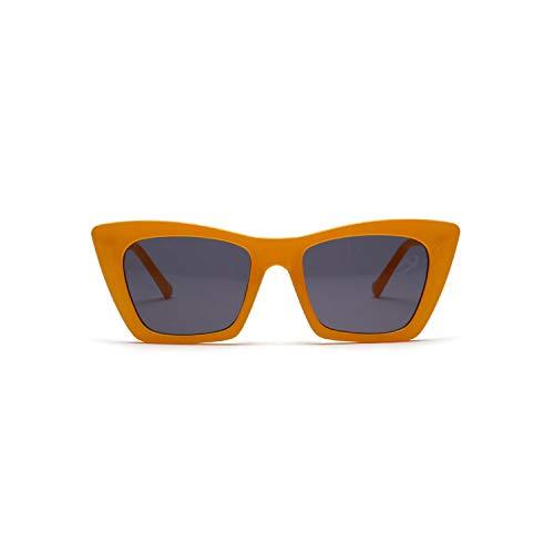 Sportbrillen, Angeln Golfbrille,Rectangle Flat Top Sunglasses Women NEW Vintage Cat Eye Sun Glasses Ladies Retro Driving Goggles Shades Sunglass UV400 Yellow