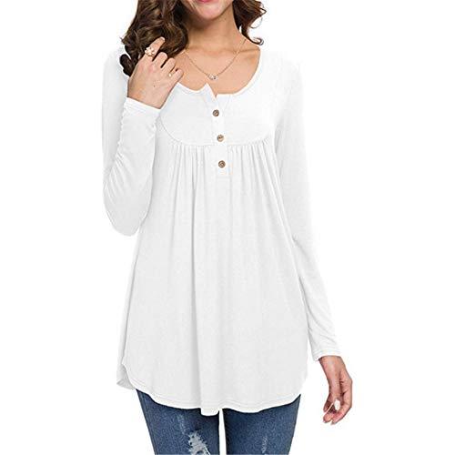 Amytrade Freizeithemden V-Ausschnitt Langarm Tunika Loose Fit Flowy Top Bluse Casual Shirt Long Sleeve Tops Plus Größe (Slim Korean Kleid Women Plus Größe)