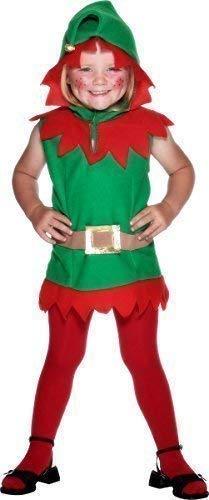 Santas Kleiner Helfer Kostüm - Jungen Mädchen Kinder Kleinkinder Weihnachtselfe Santa's Kleiner Werkstatt Helfer Elfen Weihnachten Festlich Kostüm Kleid Outfit 3-4 Years