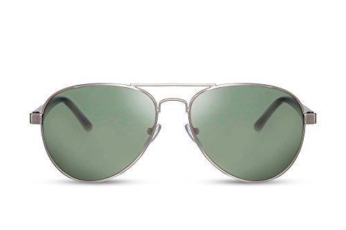 Cheapass Piloten-Sonnenbrille Silber Grün UV-400 Flieger-Brille Polizei Festival Metall Damen Herren