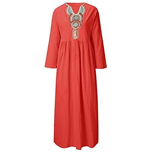 BURFLY Mode Damen Kleider, Frauen Sommer Bohemien Langarm Leinen Kleid V-Ausschnitt Lose A-Linie Kleid Party Kleid Strandkleid Retro Drutopen Sommerkleid Kleid