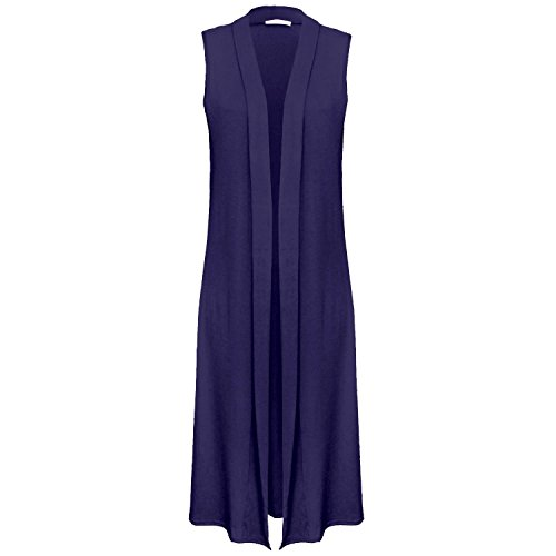 Fast Fashion - Plaine Front De Sans Manches Ouverte Cardigan Maxi Évasée - Femmes Bleu Marine