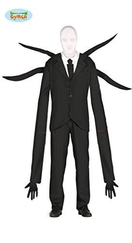 Schwarzer Mann mit Langen Armen Kostüm für Herren Halloween Horror Anzug Gr. M/L, Größe:L