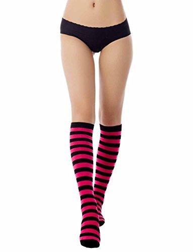 High Farbe Knee Socken (iB-iP Damen Zebra Stripe Candy Farben Lange Lagerung Kniehohe Knee-High Socken, Dunkelrosa)