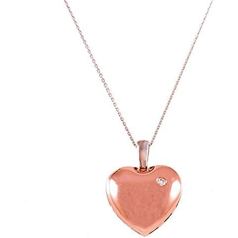 Diamond Studs Forever - Ciondolo a forma di cuore con catena in oro bianco e rosa 14K - diamanti 0,02 ct totali GH/I1