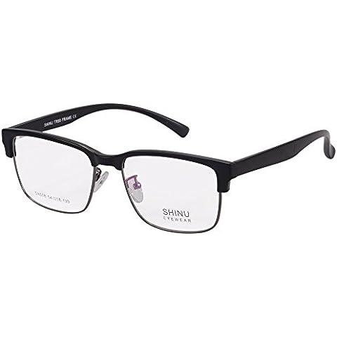 SHINU Telaio Eyewear Ottico Anti Light Blue Occhiali Lenti Trasparenti con Cerniera a Molla Occhiali Senza Montatura Clubmaster Semi-Style Ricetta per le Donne-SH018