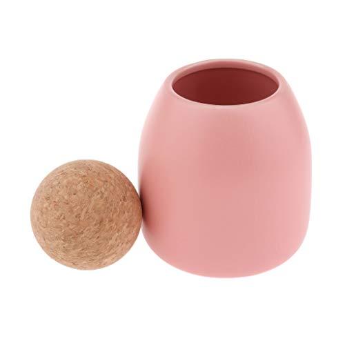 Fenteer Bidon en Céramique de Style Contemporain avec Bouchon en Liège - Pink-S (Ball Top)