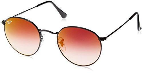 Ray Ban Unisex Sonnenbrille Round Metal, (Gestell: schwarz, Gläser: verspiegelt rotverlauf 002/4W), Medium (Herstellergröße: 50)