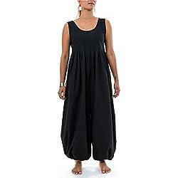 FANTAZIA Combi Pantalon Sarouel Noire Classic Chic Sastriya - Taille S au XXXL - 100% Coton - Noir - Zen Naturel - Confortable & Original - Créé en France, Fabrication Ethique Depuis 2004