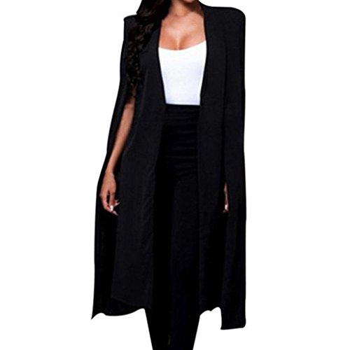 ESAILQ Frauen Lösen Langen Mantel Blazer Mantel Cape Cardigan Jacke Trench Outwear (Fischgräten-damen-blazer)