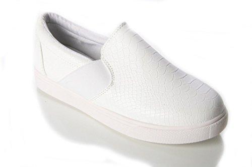 donne mocassino piatto Casuel caviglia pompa skater lavoro scuola scarpa SIZE3–8 White