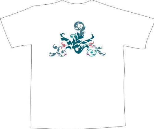 T-Shirt F1083 Schönes T-Shirt mit farbigem Brustaufdruck - schöne Stammes Blatt Schwarz