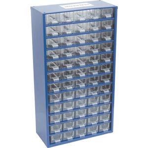 Senator Kleinteilemagazin 551 x 306 x 155 mm mit 60 transparenten Kunststoffschubladen Stahl blau Lagerschrank