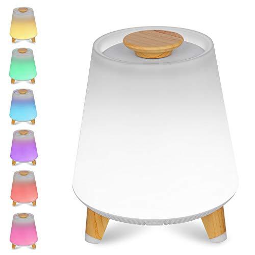 Bluetooth Lautsprecher Lampe,Wake-up Light LED,SPARKWAV 10w Kabellos,APP Control, Lampe Alarm multifunktional,Sound Schreibtisch,Uhren Zuhause Dekor Audios einstellen Mit Holz Taste,Stativ -