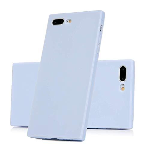 SEBAS Home iPhone 7 Plus Hülle, iPhone 8 Plus Hülle, Robuste TPU-Abdeckung Painted Scrub Square Candy Farbe Rutschfeste Anti-Fingerprint Anti-Scratch (Color : Light Blue) -