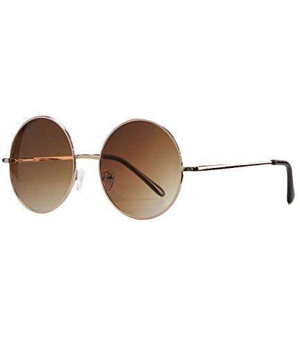 Caripe Lennon Retro Vintage Sonnenbrille Metall Damen Herren rund Nickelbrille (2059 Gold - braun getönt)