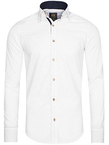 OZONEE Herren Klassisch Hemd Freizeithemd Langarm Shirt Casual Slim Fit RAW LUCCI 798 Weiß