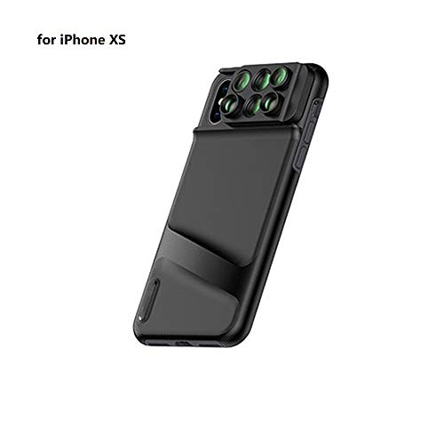LJ2 6 in 1 Telefon Objektivdeckel Fall, Weitwinkel Telefon Kamera Objektiv Fisheye Tele Makro Kamera Objektiv für iPhone XR XS XS max,iphoneXS (Len Iphone Fall Kamera)