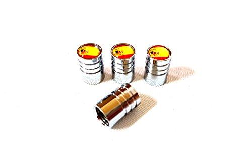 4x Auto Ventilkappe cap Ventilkappen Chrom mit Spanien Spain Flagge E Logo Espanol Ventil für alle KFZ PKW LKW Modelle 4er Set