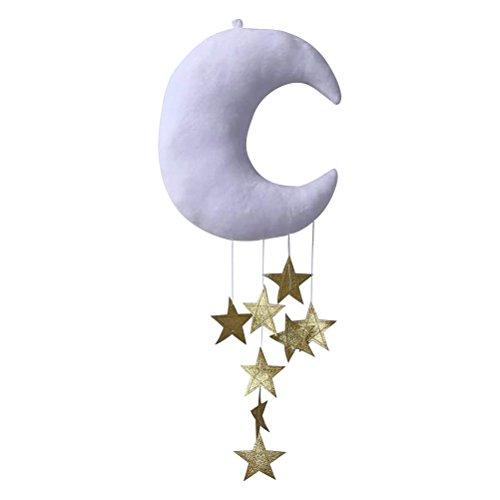 WINOMO Mond Sterne hängende Verzierung DIY Anhänger für Baby-Dusche-Kinderraum-Dekoration (weißer Mond und goldene Sterne)