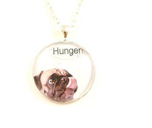 ' Mops hat Hunger ' Cabochon Kette Hunde-Schmuck silber-farben (Mop Hat)