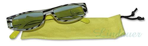 LINDAUER Getönte Lesebrille +3,0 gelb/schwarz Fertigbrille Flexbügel Etui