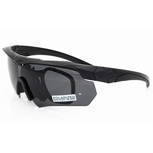 FELICIOO Reitbrille Motorradbrille Sport Sonnenbrille Mit 5 Linsenkits, Polarisiert (Farbe : Schwarz)