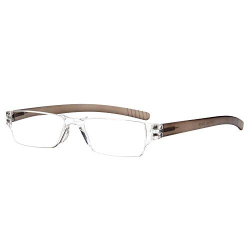 LianSan unisex rimless Reading Glasses men women's lightweight readers glasses reading eyeglasses L2220 (brown +4.00)